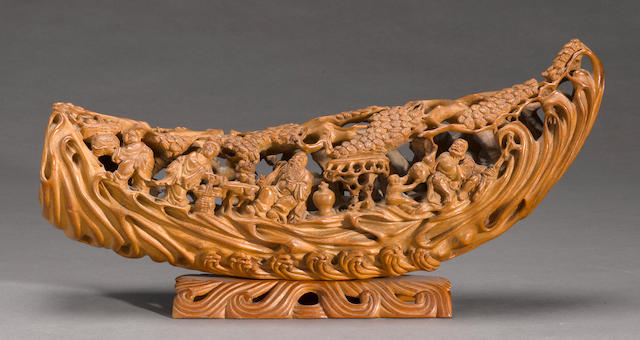 A large carved bamboo raft 20th century