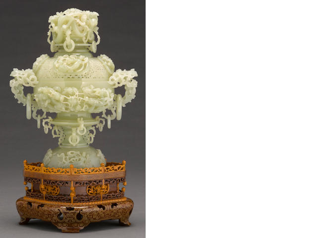 A large jade censer 20th century