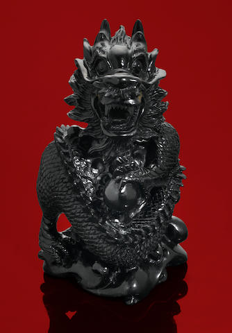 Black Jade Carving of a Dragon