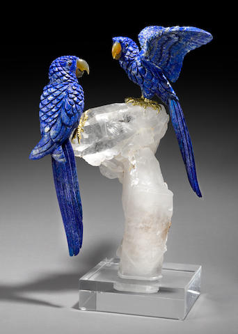 Lapis Lazuli Carving of a Pair of Macaws on Quartz