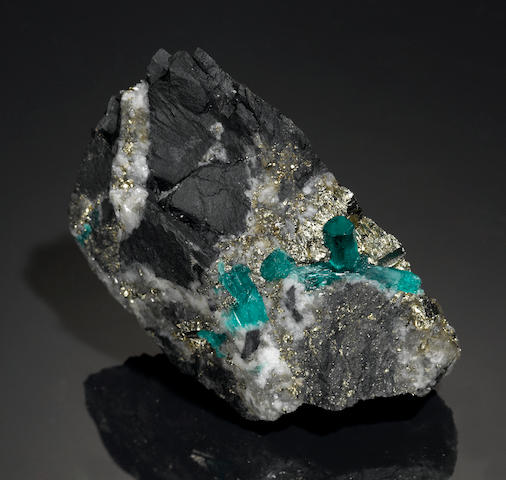 Emerald, calcite and pyrite Matrix