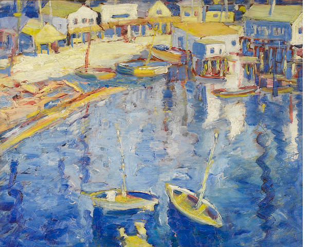 Selden Connor Gile (American, 1877-1947) Main Street, Tiburon, with boats, circa 1928 18 x 22in