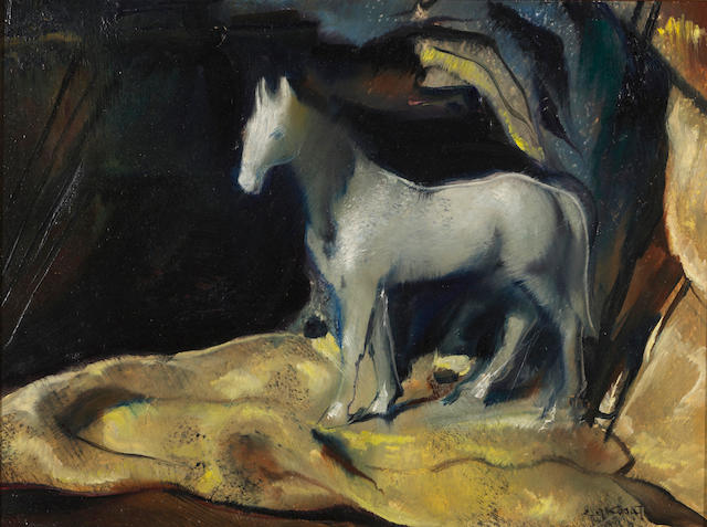 Emil Jean Kosa, Jr. (American, 1903-1968) White stallion 12 x 16in