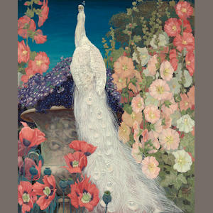 Jessie Arms Botke (American, 1883-1971) Peacock and hollyhocks, 1926 30 x 25in