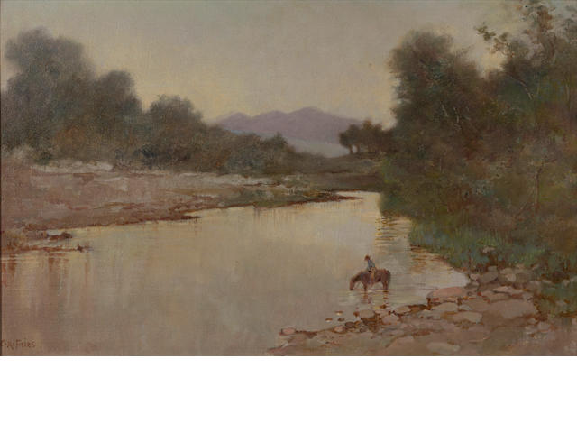 Charles A. Fries (American, 1854-1940) Early morning above San Diego mission dam 12 x 19in
