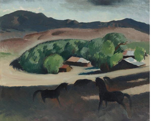 Millard Sheets (American, 1907-1989) Pomona ranch horses 16 x 20in