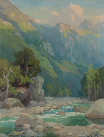 Marion Kavanagh Wachtel (American, 1870-1954) Matilija Canyon at sunset 25 1/2 x 19 1/2in
