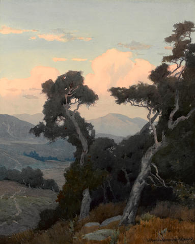 Marion Kavanagh Wachtel (American, 1870-1954) Landscape with oak trees 20 x 16in
