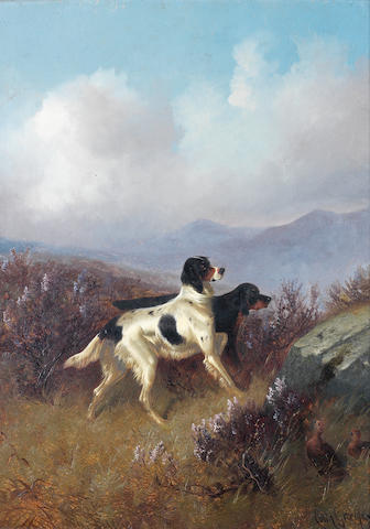 Colin Graeme (British, 1858-1910) Setters on a moor 21 x 17in.(53.5 x 43cm.)