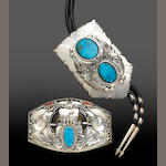 Turquoise and Silver Bolo Tie and Matching Belt Buckle