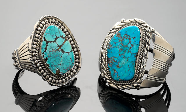 Two Navajo Turquoise and Silver Cuff Bracelets