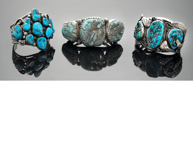 Three Navajo Turquoise and Silver Bracelets