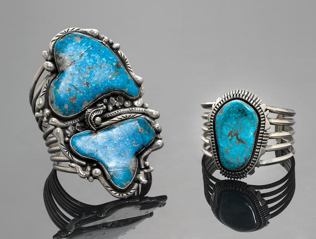 Two Large Navajo Turquoise and Silver Bracelets