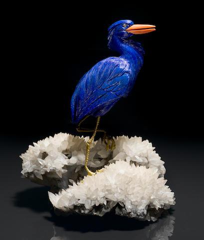 Lapis Bird on Geode stand