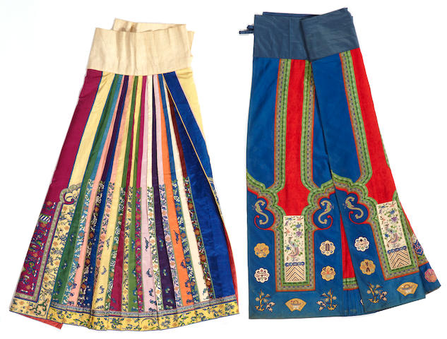 Two elaborately pieced and embroidered silk skirts