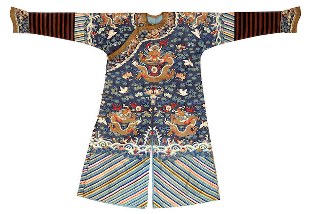 A Blue ground kesi-woven silk dragon robe