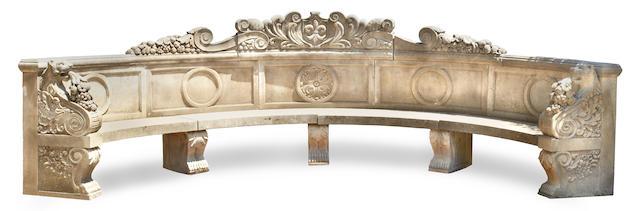 An imposing Italian Renaissance style limestone garden bench