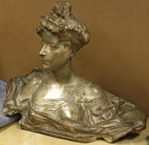 A painted terracotta bust of a young woman after a model by Paul Francois Berthoud (French, 1870-1939) early 20th century