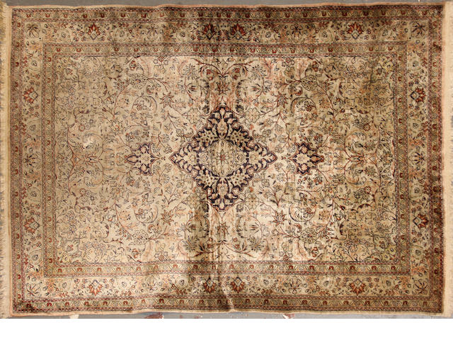 A Turkish silk rug  size approximately 4ft. x 5ft. 11in.