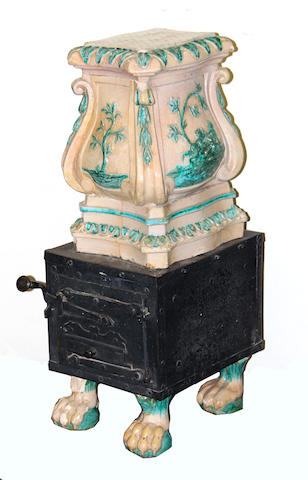 A Continental faience and metal stove 18th/19th century