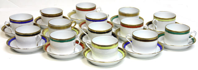A Ginori porcelain harlequin set of twelve coffee cups and saucers in the Palermo pattern