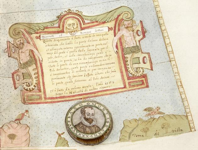 MONTE, URBANO. 1544-1613. [Manuscript Wall Map of the World.]  Milan: 1587 (with additions to 1589).<BR />