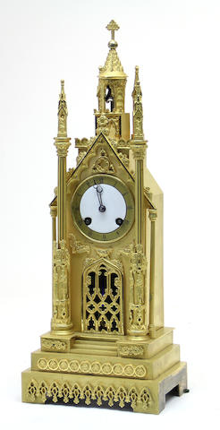 A Louis Philippe Gothic revival gilt bronze mantel second quarter 19th century