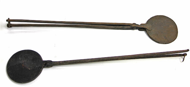 Two cast iron waffle irons 19th century