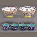 Six canton enameled bowls Late Qing dynasty/Republic period