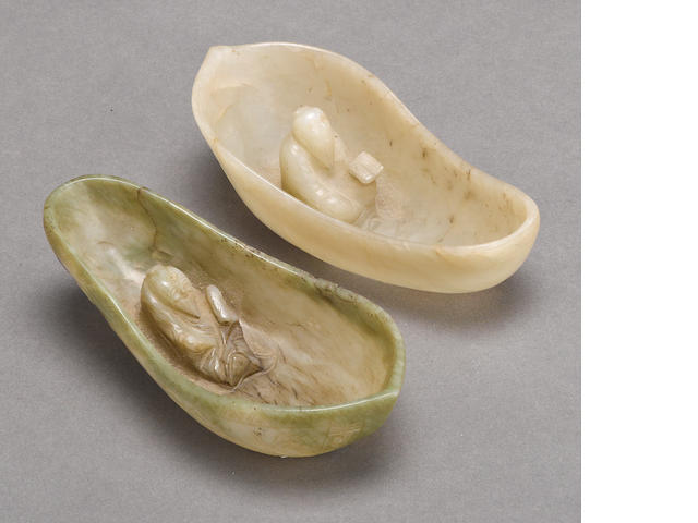 Two jade leaf-shaped libation cups