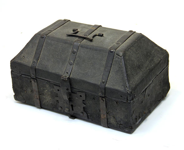 A iron bound cuir bouilli casket probably Spanish  15th/16th century