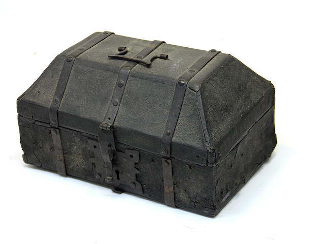 A iron bound cuir bouilli casket probably Spanish <BR />15th/16th century