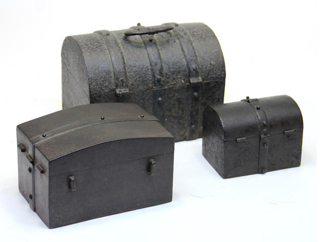 Three miniature German iron strong boxes 17th/18th century