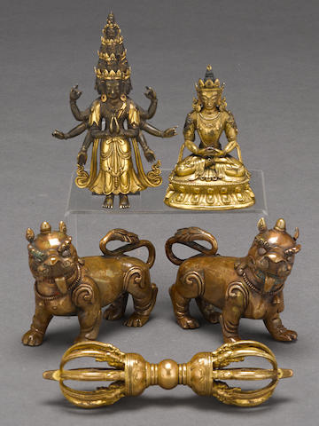 A group of five gilt bronze Tibetan articles 18th/19th century