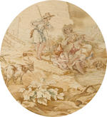 A set of six Aubusson tapestry panels <BR />second half 19th century