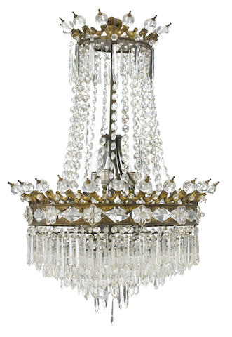 A Belle Époque gilt bronze and cut glass chandelier <BR />late 19th century