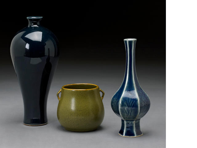 A group of three monochrome porcelain vessels
