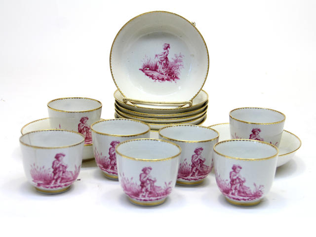 Seven French porcelain cups and eight saucers second half 18th century