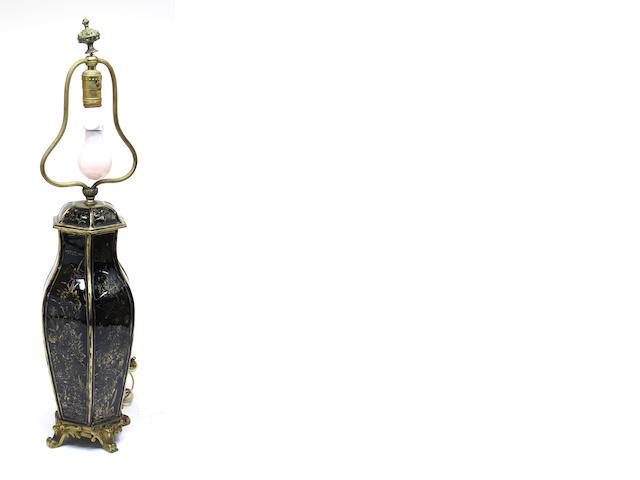 A French gilt-bronze mounted black glazed porcelain gilt decorated vase and cover, now as lamp 19th century