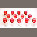A partial suite of cranberry flashed and engraved glass stemware