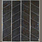 A contemporary beveled glass four panel floor screen