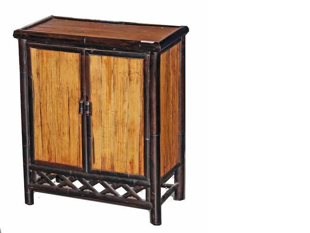 A small bamboo and wood double door cabinet 20th century