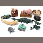 Ten hardstone animals and a small agate dish