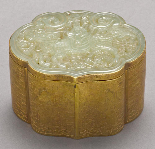 A jade plaque mounted on a brass box 19th century