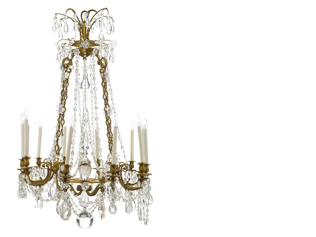 A Louis XV style gilt bronze rock crystal and cut glass twelve light chandelier <BR />late 19th century
