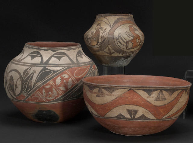 Three Pueblo polychrome vessels