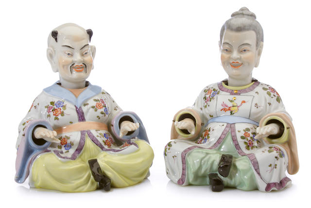 A pair of Dresden porcelain nodding head pagoda figures <BR />early 20th century