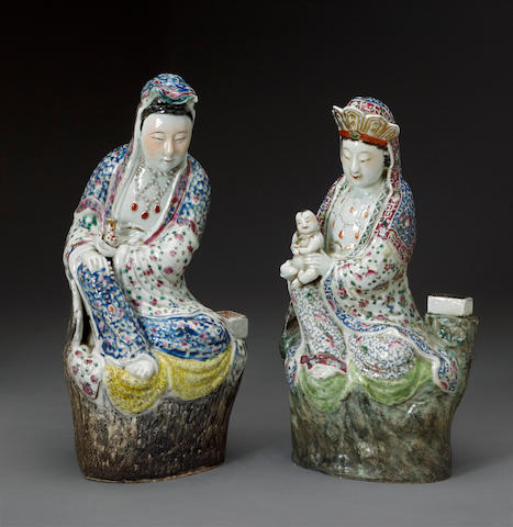 Two enameled porcelain figures of Guanyin