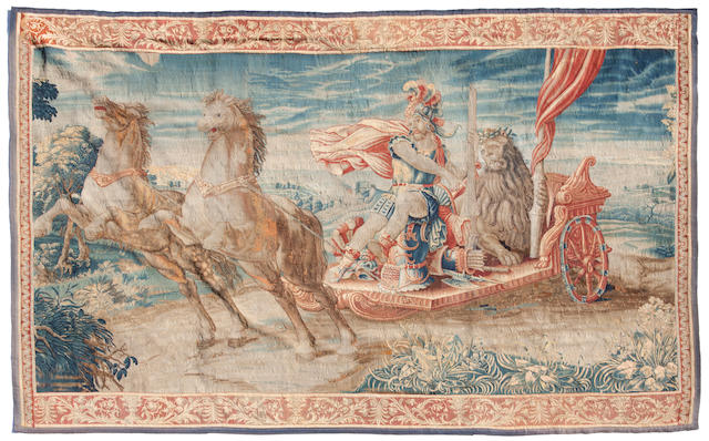 A Flemish Baroque mythological tapestry fragment  late 17th century