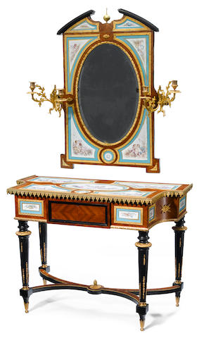 A French gilt bronze and porcelain mounted parcel ebonized kingwood dressing table and mirror  <BR />late 19th century
